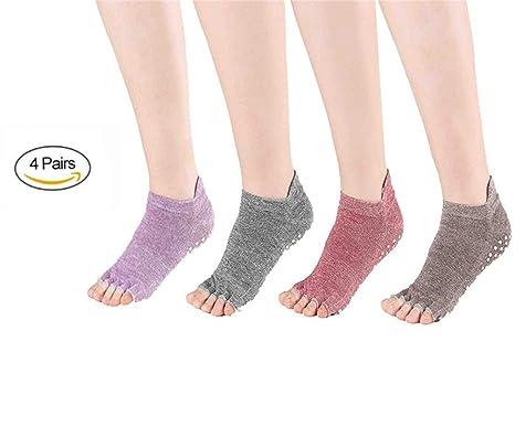 8aaab944c4b0 SANIQUE 4 Paia Donna Non Slip Piede Yoga Calzini - Misura per Il Formato  Scarpe EU