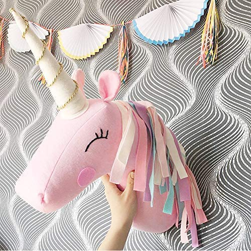 (Unicorn Wall Head Mount for Room - Stuffed Animal Head Wall Decor for Kids - Bedroom Decorations)