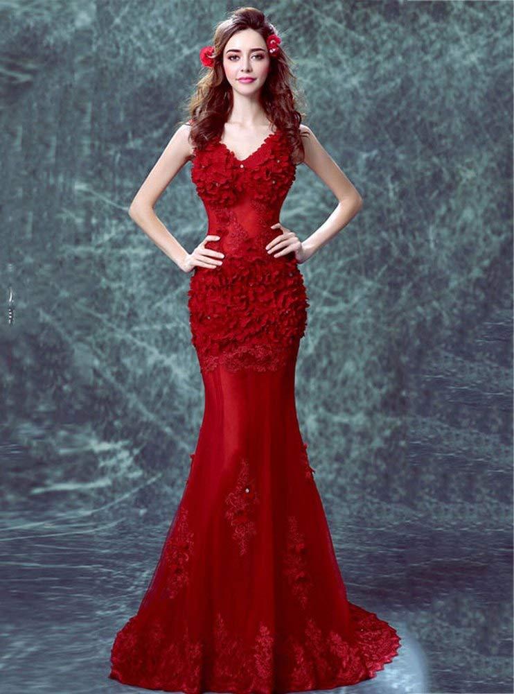 YT-RE Vestido de la Cadera de la Perspectiva Roja Vestido de la Sirena de la Cadera Vestido de Novia con Cuentas de Pétalo sin Mangas con Cuello en V, Rojo, ...