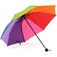 Tinsow 8 Rib Rainbow Umbrella Portable Tri-Folded Umbrella Collapsible, Compact and Durable, Lightweight and Cute Travel…