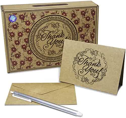 50 Count Kraft Generic Thank You Cards: With Matching Envelopes and Free Pen: Best Note Card - Weddings, Graduations, Bridal, Baby Showers, Holidays and All Occassions