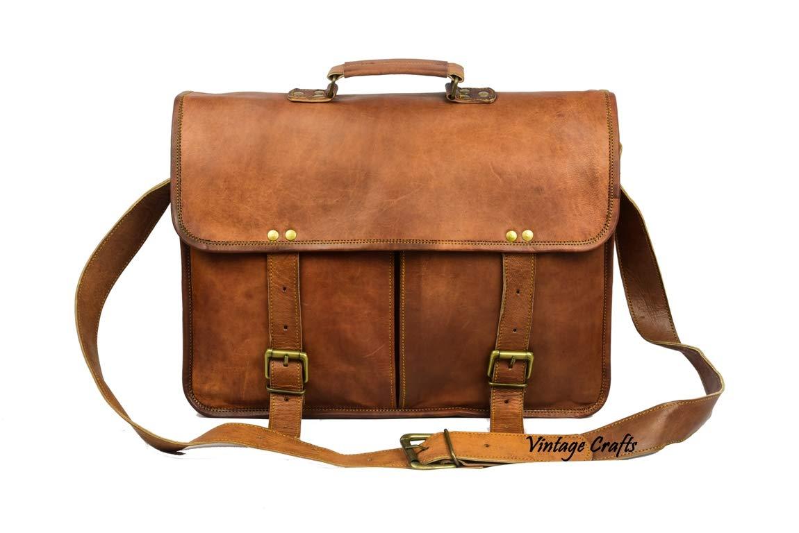 Leather Messenger Bag Briefcase Laptop Satchel Crossover Bag Twin pocket leather messenger bag for men