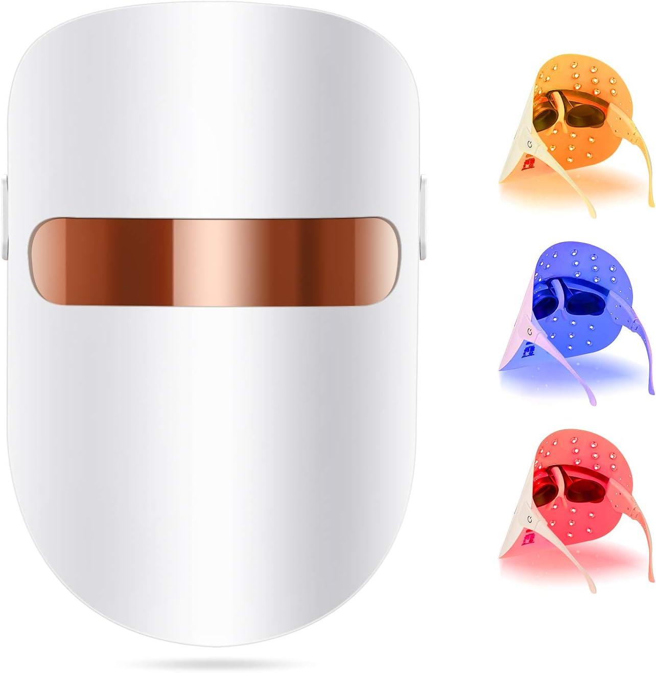 Hangsun - Máscara facial antiacné para terapia con luz led, terapia de fotones FT350 contra el acné, para el rejuvenecimiento de la piel, reduce granos e inflamaciones con luz azul/roja/naranja