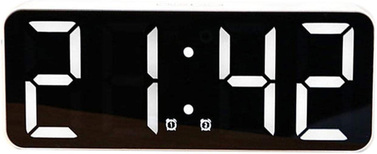 Snooze Digital LED Light Mirror Alarm Clock Table Clock Snooze Electronic Big Time Light Temperature Display Home Decor Clock