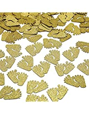 UCITY 100 Pcs Gold Glitter Footprint Gender Reveal Table Confetti for Baby Shower Gender Reveal Party Decorations