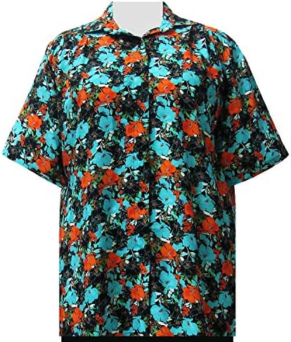 A Personal Touch Turquoise Floral Garden Women's Plus Size Blouse