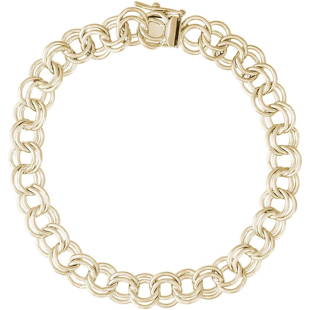 Rembrandt Charms, 7'' Large Double Link Curb Classic Charm Bracelet, 14k Yellow Gold