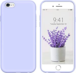 DUEDUE iPhone 6 Case,iPhone 6S Case,Liquid Silicone Soft Gel Rubber Slim Cover with Microfiber Cloth Lining Cushion Shockproof Full Protective Case for iPhone 6/6S, Purple