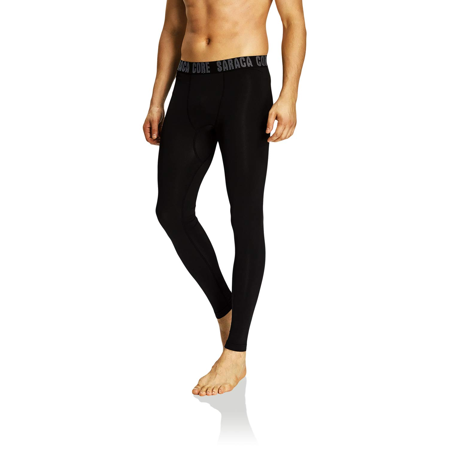 saraca core Men Youth Compression Pants Athletic Tights Running Leggings Baselayer Cool Dry Black by saraca core
