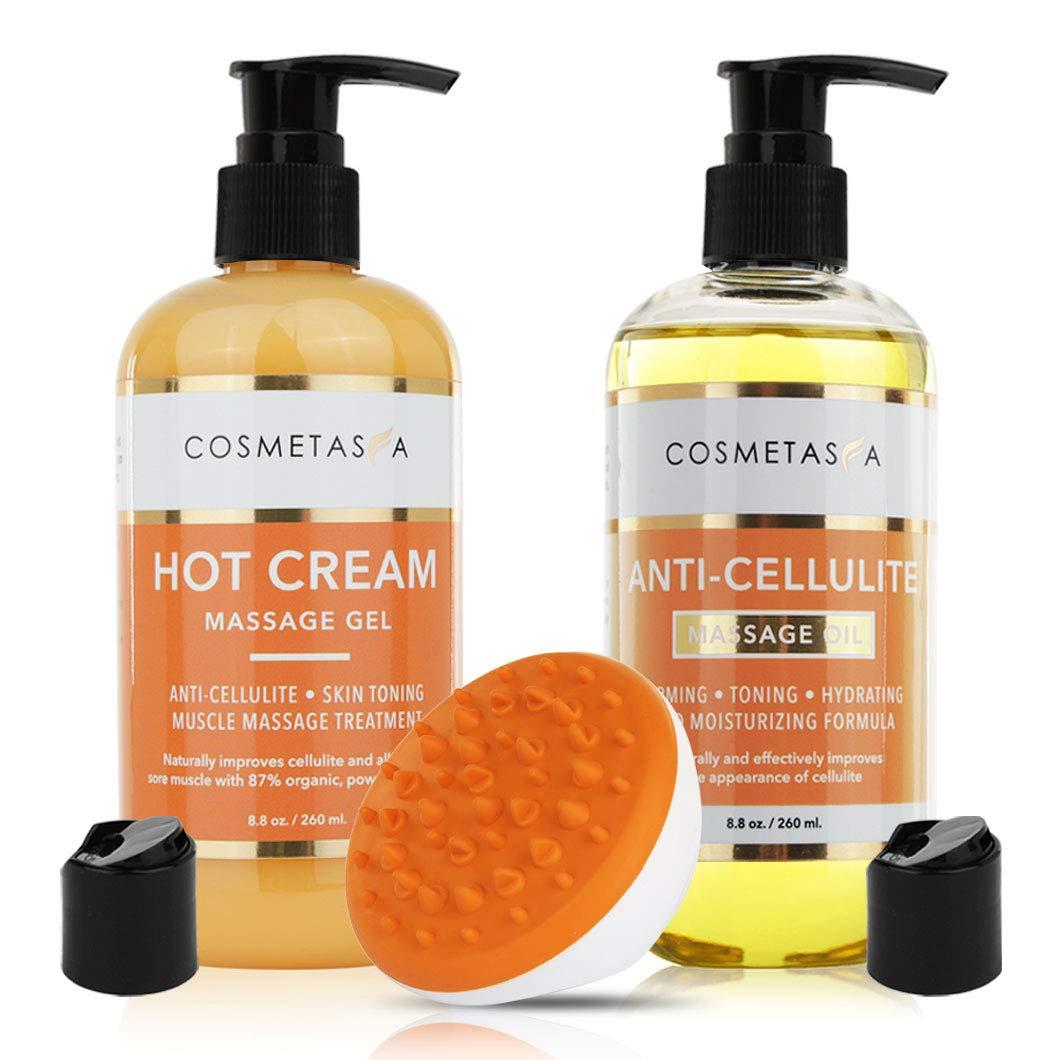 Anti Cellulite Treatment Kit- Massage Oil, Hot Cream & Cellulite Massager Mitt by Cosmetasa