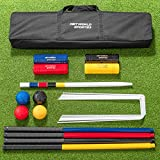 Net World Sports COMPLETE 4 PERSON CROQUET SET – Full Size Wooden Lawn Croquet Set Traditional Mallets, Steel Hoops, Clips, Balls, Winning Post, Flags & Carry Holdall