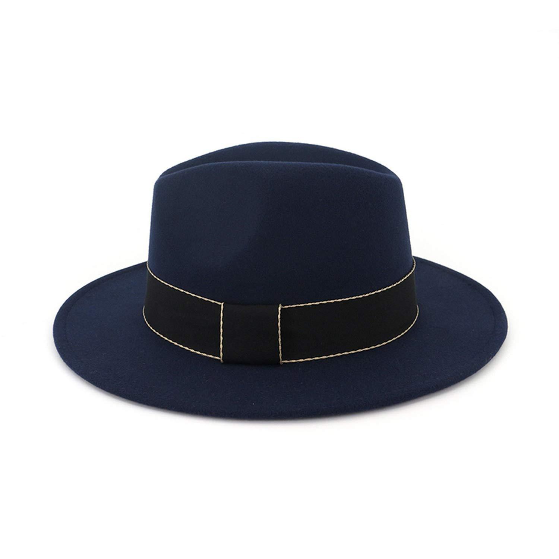 Autumn Winter Wool Feel Fedora Hat Men Women Vintage Jazz Wide Brim hat DOSOMI