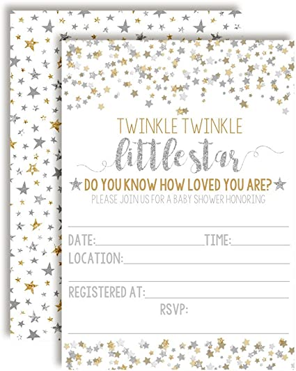 Twinkle Twinkle Little Star Baby Shower Invitations With Envelopes 20 Count
