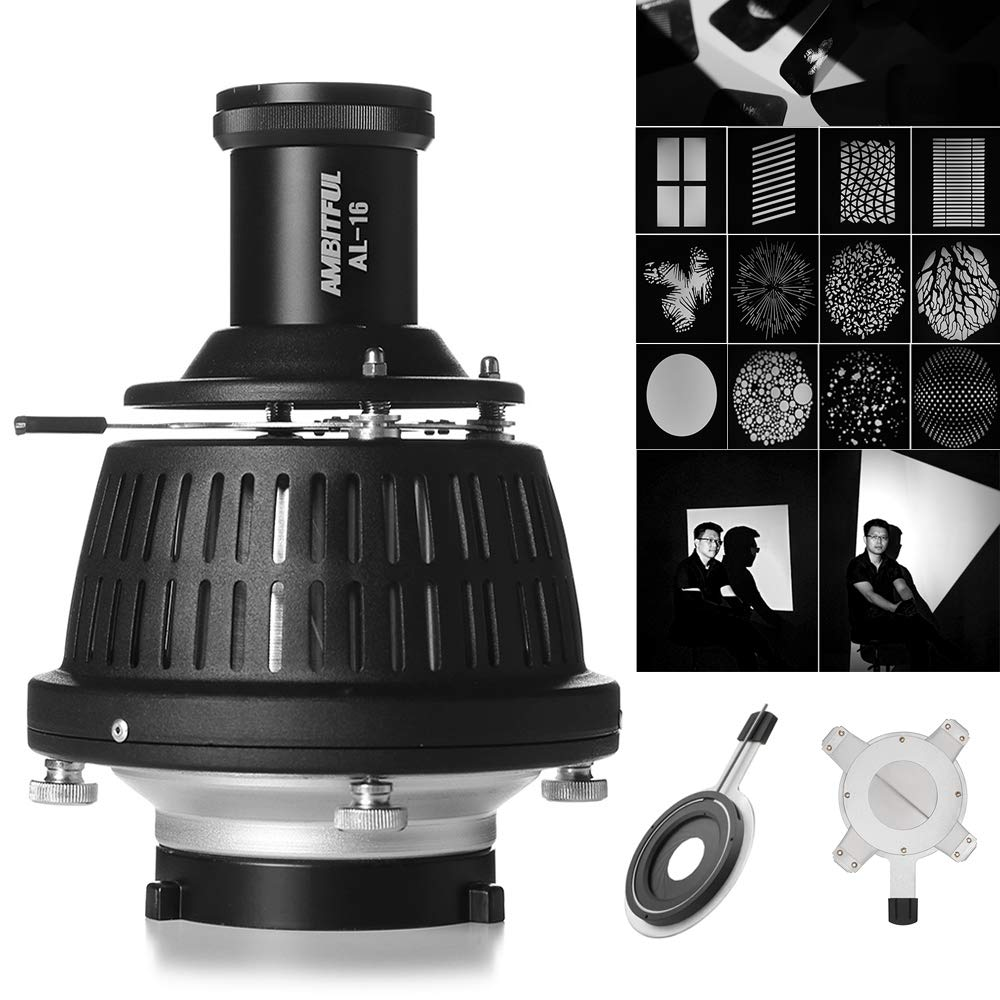 AMBITFUL AL-16 Bowens Mount Optical Focalize Condenser Beam Light Cylinder Optical Focalize Art Photography Light Cylinder with Adjust Aperture Ring+Geometry Graphics Adjustment by AMBITFUL