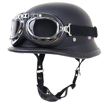 LETU Casco de Motocicleta ZR Half Open Face con Gafas de piloto Vintage Jet-Helmet Cruiser Wehrmacht Steel Helmet Certified Moto Army-Style (Negro Mate) ...