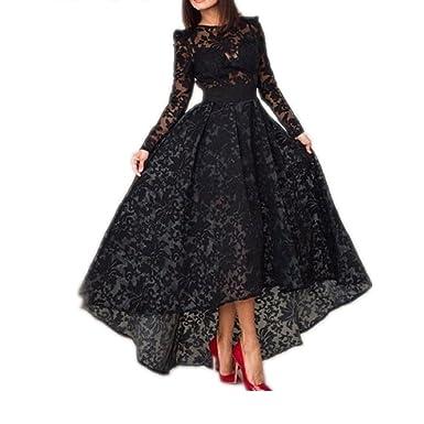 YASIOU Elegant Damen A-Linie Abendkleider arm lang Schwarz Spitze ...