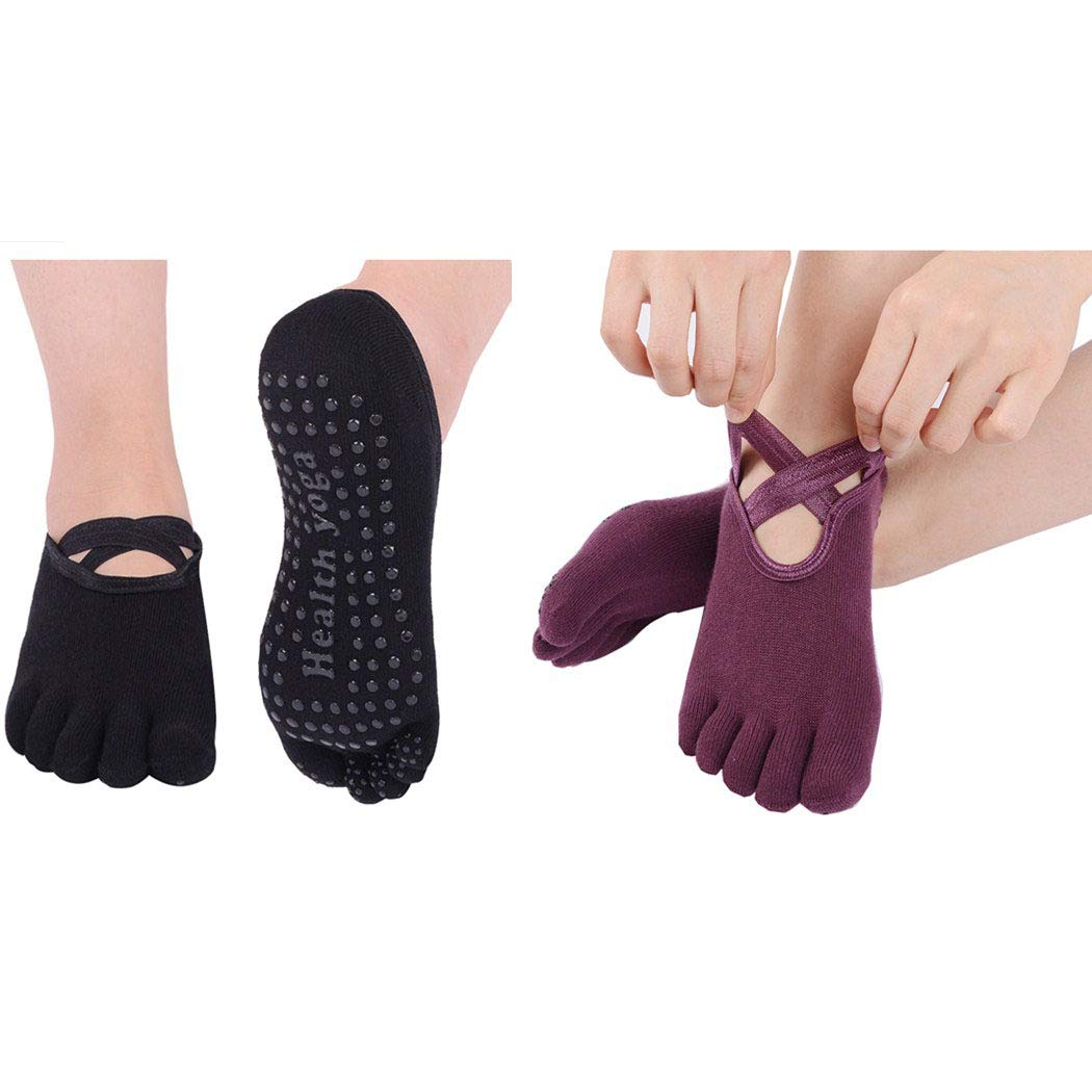 Neoyowo Women's Non-Slip Yoga Socks with Full Toe for Pilates Barre Bikram Ballet Studio Hospital Anti-Skid Sox (Black+Purple)