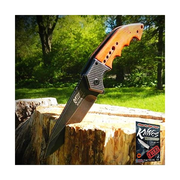 "9"" SPRING ASSISTED OPEN Tactical Blade Folding POCKET Elite Knife Wood Steampunk + free eBook by ProTactical'US 4"