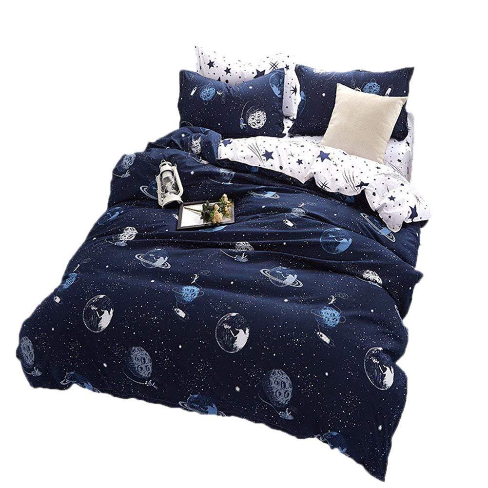 BeddingWish Blue Cartoon Star Universe Planets Beddding Set(No Comforter and Sheet) for Kids Teen Boys and Girls,Duvet Cover Set with 2 Pillow Shams(3pcs,Twin)