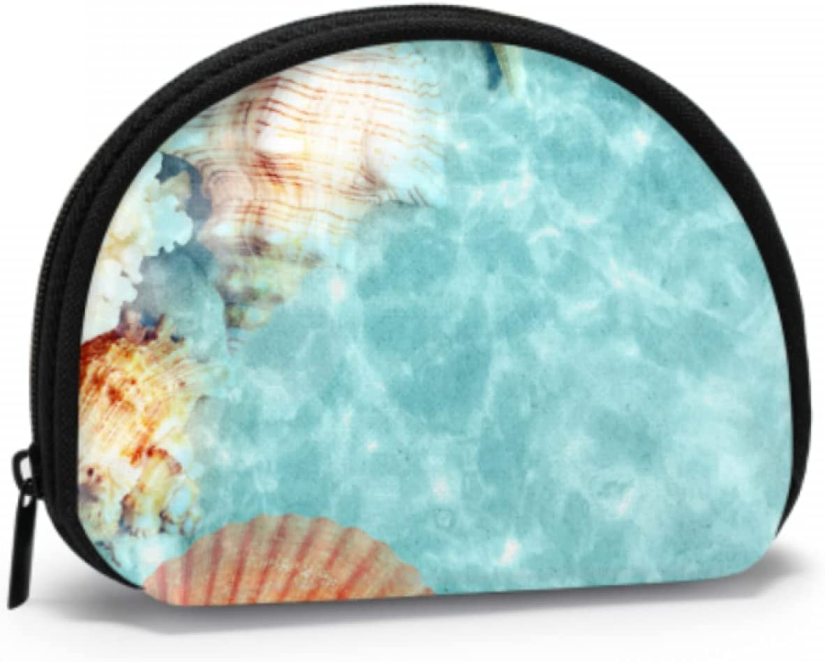 Monedero de Viaje Seashell Startfish Sea Pouch of Coins Monederos para Hombres con Cremallera Mini Bolsas de Maquillaje cosmético para Mujeres, niñas, Fiestas, Regalos y Decoraciones