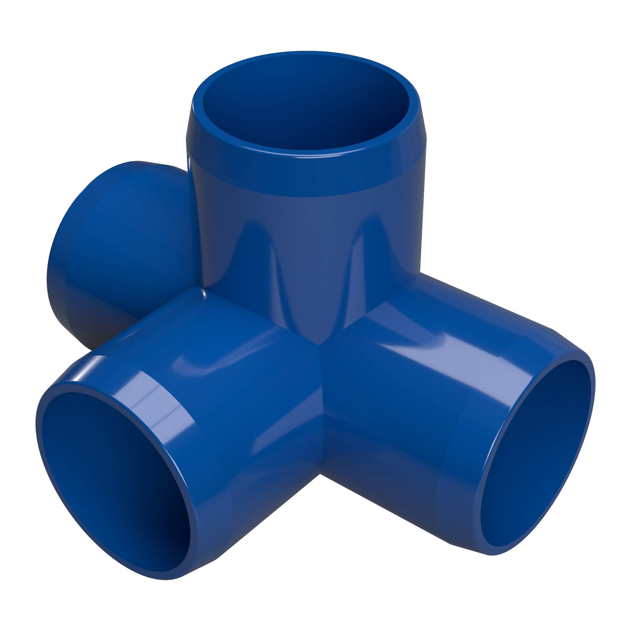 FORMUFIT F1144WT-BL-4 4-Way Tee PVC Fitting, Furniture Grade, 1-1/4'' Size, Blue (Pack of 4)