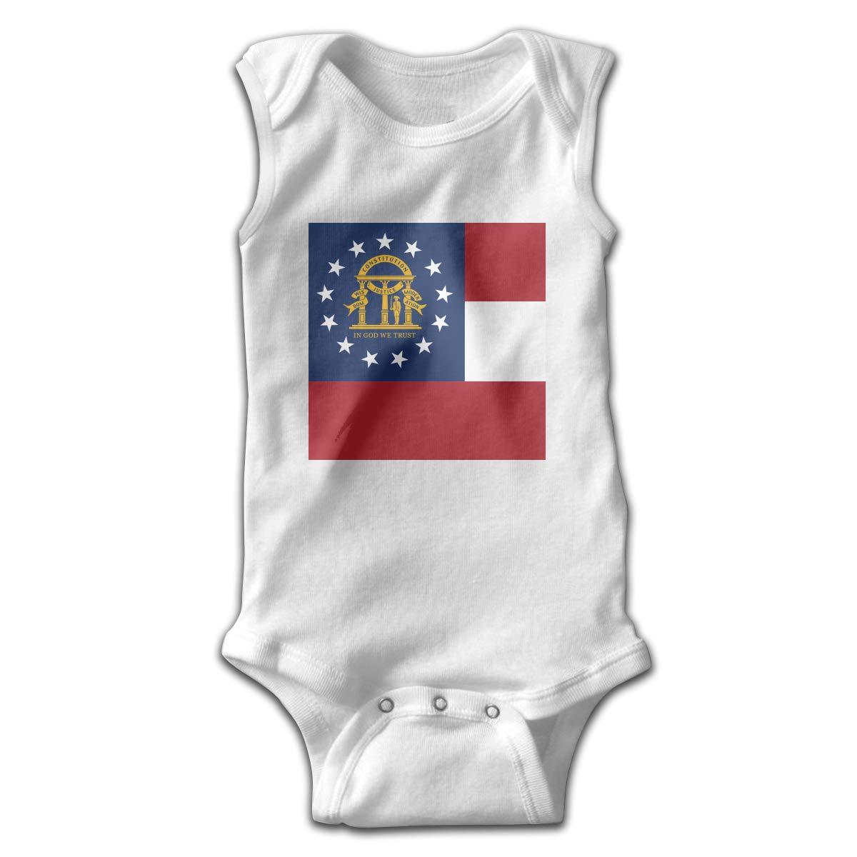 Georgia State Flag Newborn Baby No Sleeve Bodysuit Romper Infant Summer Clothing Black