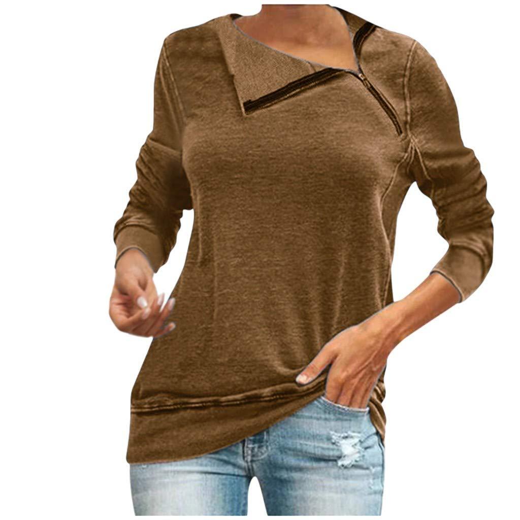 Women Oblique Zipper Sweatshirts Long Sleeve Stand Collar Solid Casual Tunic Tops Autumn Pullover Blouse Daorokanduhp by Daorokanduhp Women Blouse