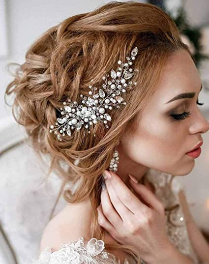 Simsly sposa matrimonio pettine vite di cristallo fascia da sposa capelli  accessori capelli pezzo party per donne e ragazze (argento)  Amazon.it   Bellezza d3f7a14dfa70