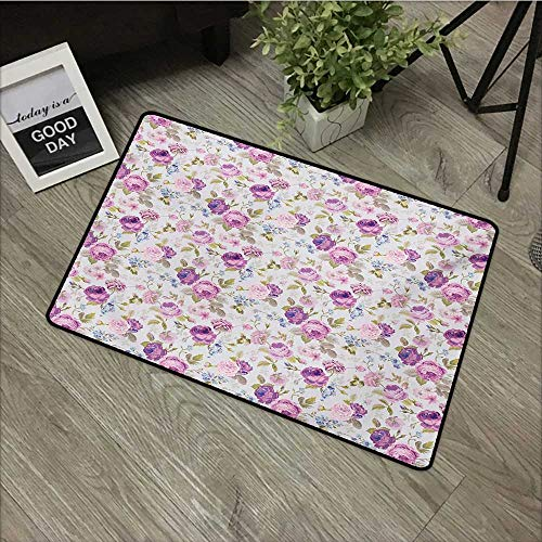 Bedroom Door mat W24 x L35 INCH Floral,Floral Pattern Pastel Tones Love and Adoration Theme Lovely Leaves Petals,Lilac Green Pale Blue Non-Slip, with Non-Slip Backing,Non-Slip Door Mat Carpet