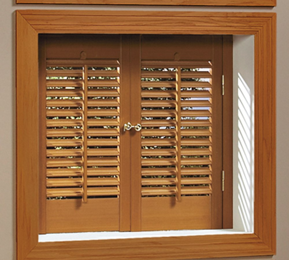 Faux Wood DIY Traditional 1 1/4'' Interior Shutter Kits (Oak Stain Finish, 23-25'' W x 20'' L)