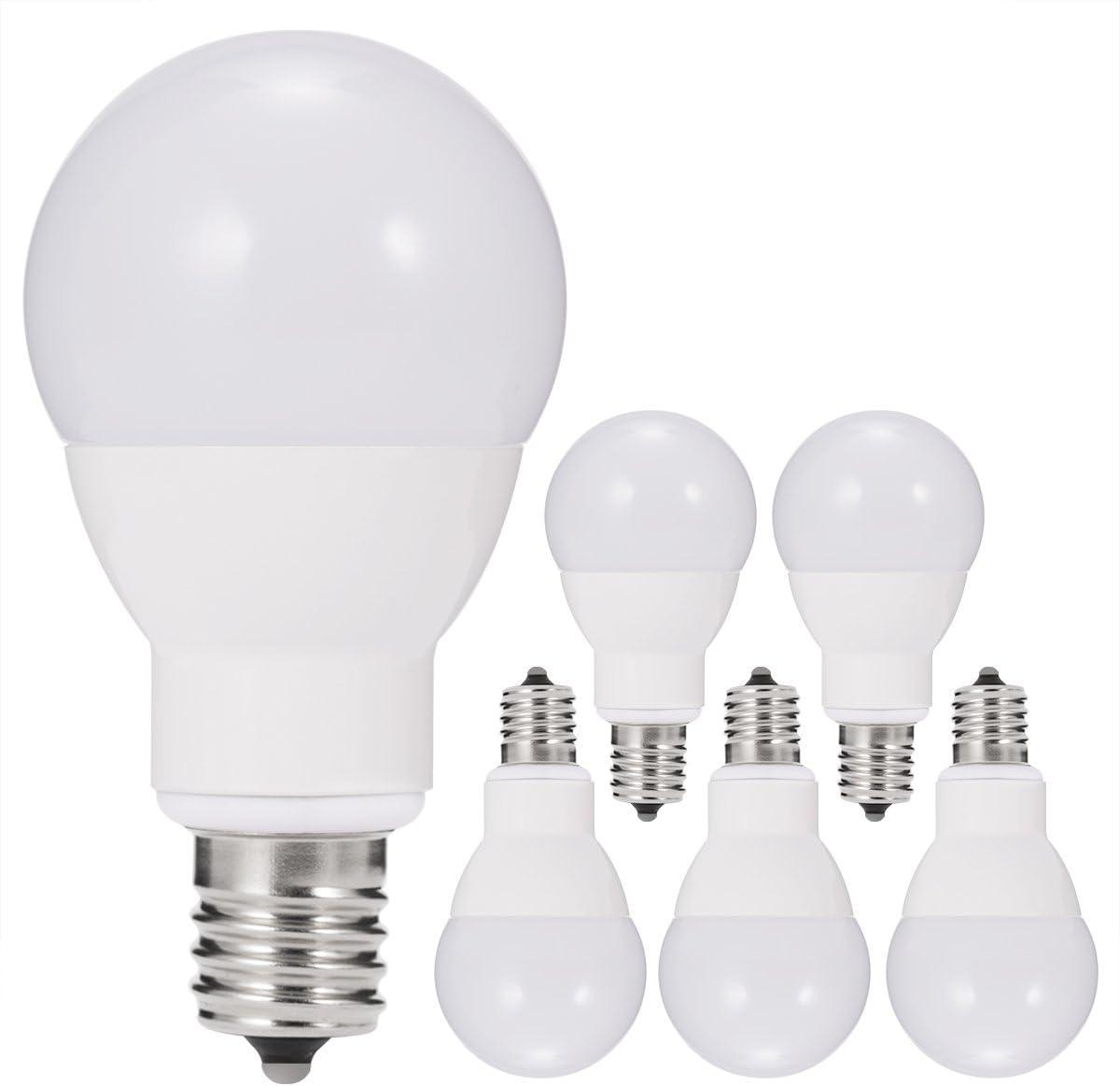JandCase E17 Globe Light Bulbs, 40W Equivalent, 5W, 450 LM, Natural Daylight White 4000K, Slender G14 LED Bulbs for Ceiling Fan, Headboard Reading Light, Intermediate E17 Base, Not Dimmable, 6 Pack