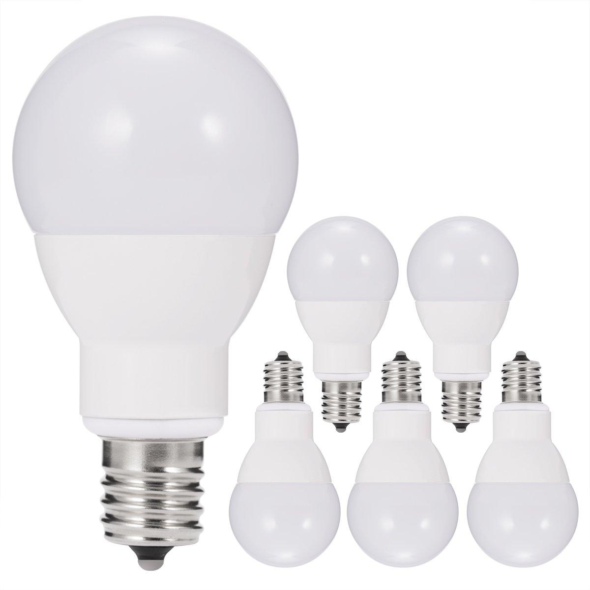 JandCase E17 Globe Light Bulbs, 40W Equivalent, 5W, 450 Lumens, Natural Daylight White 4000K, Slender G14 LED Bulbs for Ceiling Fan, Headboard Reading Light, Intermediate E17 Base, 6 Pack
