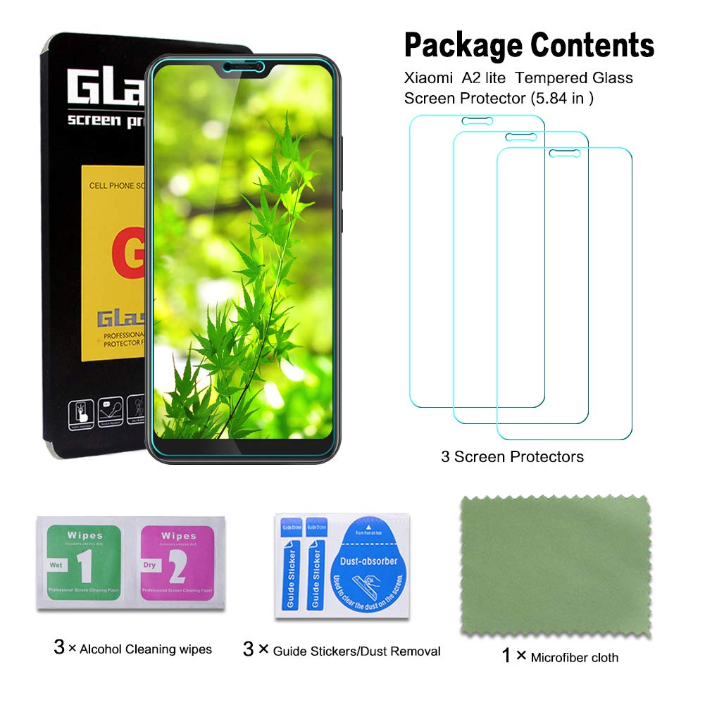 [3-Unidades] Protector de Pantalla para Xiaomi Mi A2 Lite/Redmi Mi 6 Pro,Cristal Templado Xiaomi Mi A2 Lite,Resistente a Arañazos, Xiaomi Mi A2 Lite ...