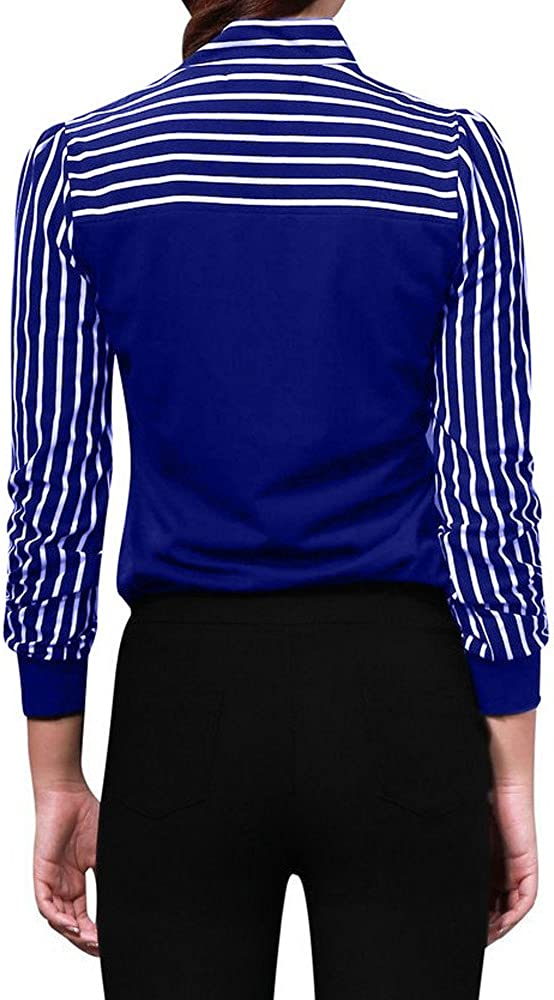 OVERDOSE Frauen Tie-Bow Neck Striped Langarm Splei/ß Shirt Bluse Damen Fr/ühling Herbst Hemd T-Shirt Oberteil Blusentops Elegant Business Tops