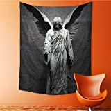 SOCOMIMI Wall Tapestry Sculpture of an Angel with Dark Background Catholic Belief Century Dimgrey Room Dorm Accessories Wall Hanging Tapestry 24L x 36W Inches