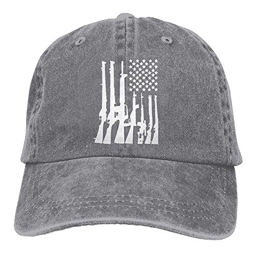 American Flag Machine Guns 2A Flag Denim Hat Men's Plain Baseball Caps (Ashes Of American Flags Dvd)