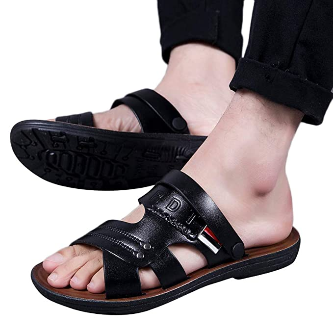 16d44bfddac6b3 Mbtaua Men's Summer Casual Breathable Beach Shoes Open-Toe Sandals Non-Slip  Slippers Black