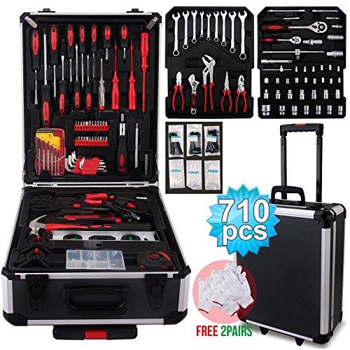 SUNCOO Tool Set Standard Metric Mechanics Kit Case Box Organize Castors Trolley (710 Pcs w/Black Case) (Case Set With Tool)