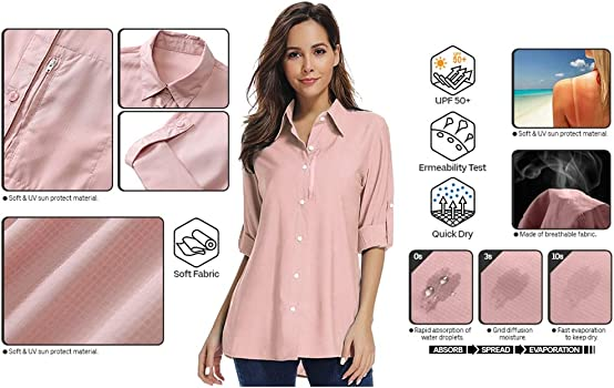 UV Protection Fishing Work Travel Shirts #5035 Asfixiado Women Quick Dry Shirt Short Sleeve
