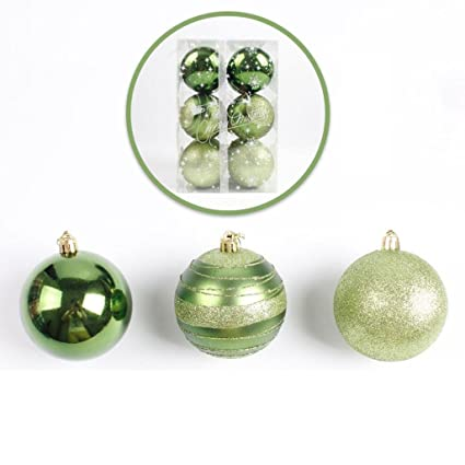 cyctech 12pcs christmas xmas tree shiny shatterproof decoration balls pendant bauble pastel hanging home party ornament - Pastel Green Christmas Decorations
