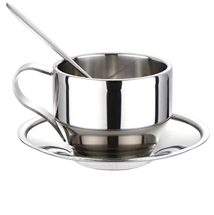 a7612431cf6 Amazon.com: Coffee Cup Set - Stainless Steel Double Walled Insulated Coffee  Mug Espresso Latte Cappuccino Milk Cup with Saucer and Spoon,125ml/4.2 oz:  Home ...
