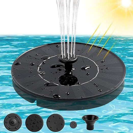 infinitoo Bomba de Fuente Solar, Fuentes para Estanques 1.4W Solar Panel Solar Flotante Bomba de Agua Solar Utilizado para Fuente, Piscina, Jardín, Estanque, Decoración de Jardín - con 4 Boquillas: Amazon.es: Jardín