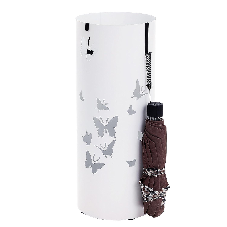 SONGMICS Porte-Parapluie en m/étal Rond avec R/éceptacle /à Eau Crochets 49 cm x /Ø19,5 cm Blanc LUC10W