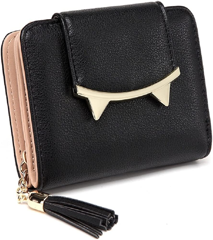 Women's Short Leather Card Holder Purse Zipper Buckle Elegant Clutch Wallet