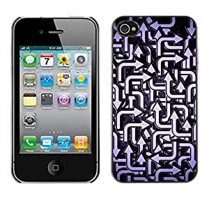 Soft Silicone Rubber Case Hard Cover Protective Accessory Compatible with Apple iPhone? 4 & 4S - direction pattern blue white
