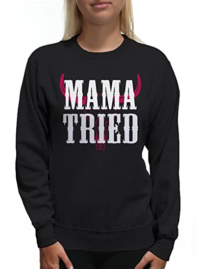 36b83ae7dbc9ed Amazon.com  Young Motto Women s Mama Tried Bull Skull Sweatshirt  Clothing