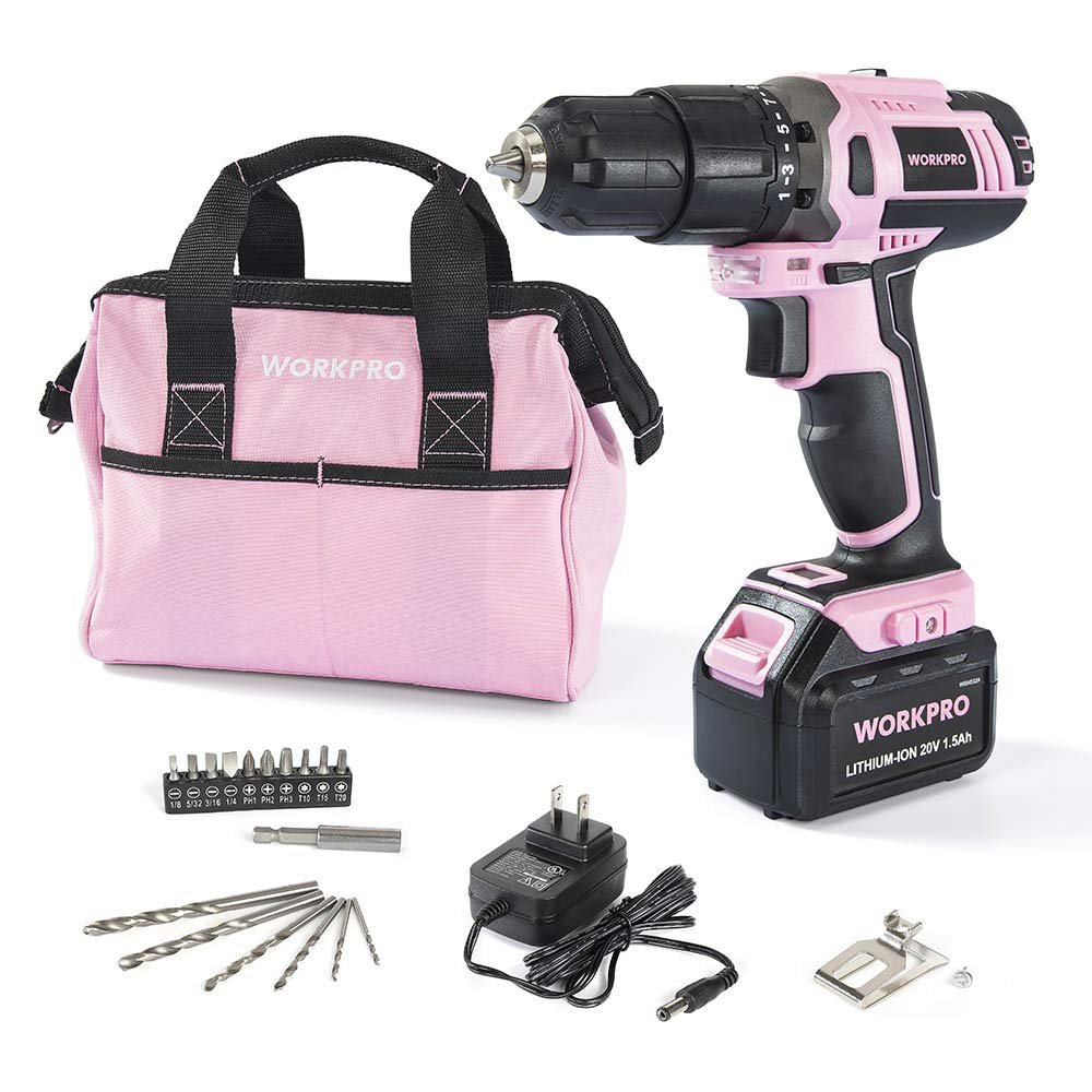 WORKPRO Pink Cordless 20V Lithium-ion Drill Driver Set (1.5Ah),1 Battery, Charger and Storage Bag Included