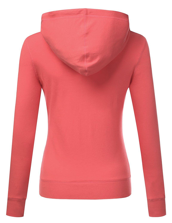 ClothingAve. Women's Basic Solid Knit Long Sleeve Zip up Hoodie Jacket (Medium, Coral) by ClothingAve. (Image #3)