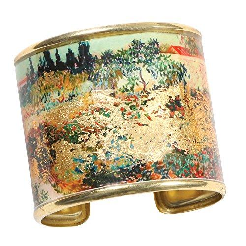 FLORIANA Women's Art Gold-Flecked Cuff Bracelet - Gustav Klimt/Vincent Van Gogh - Garden in Bloom