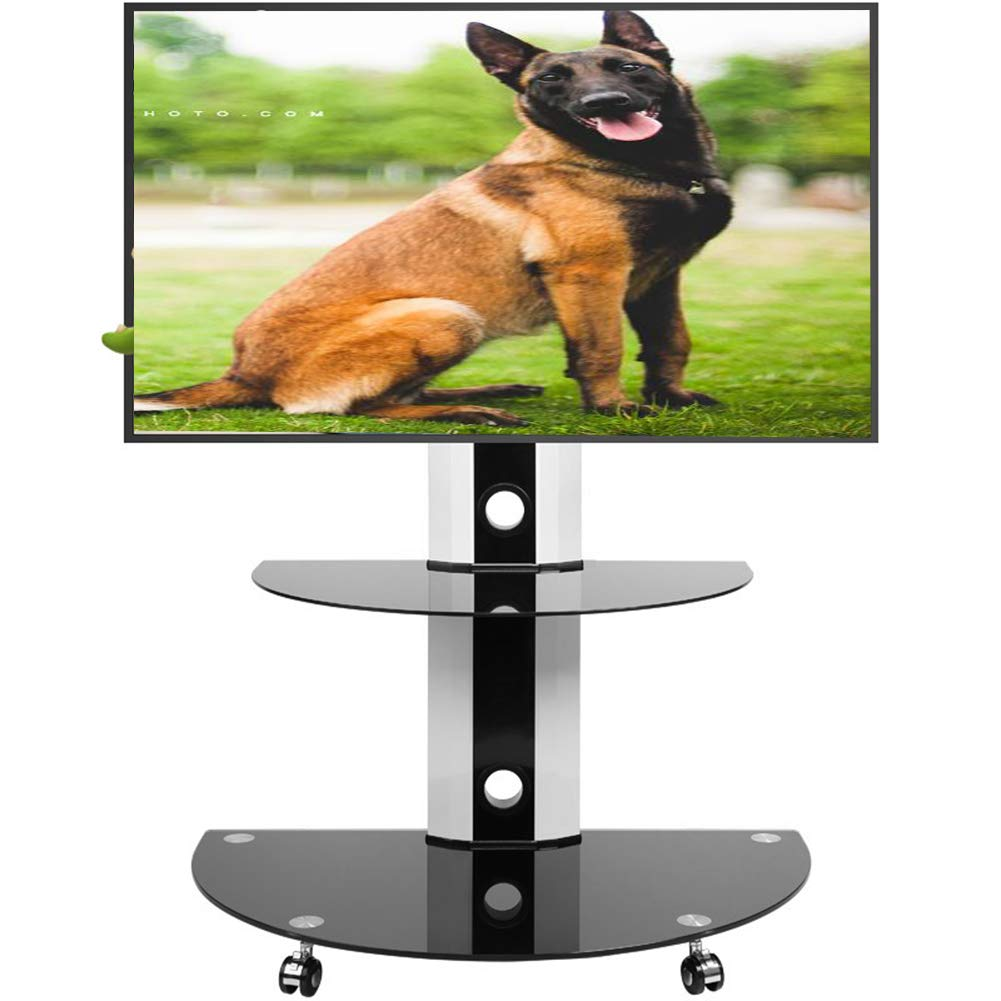普遍的な Tv のカート、32-55 インチ LCD のための Tv の立場の床の地位は車輪の移動式高さのテレビのワイヤー管理を Swive ホームオフィスの寝室の360ºを調節する   B07K45BQVW